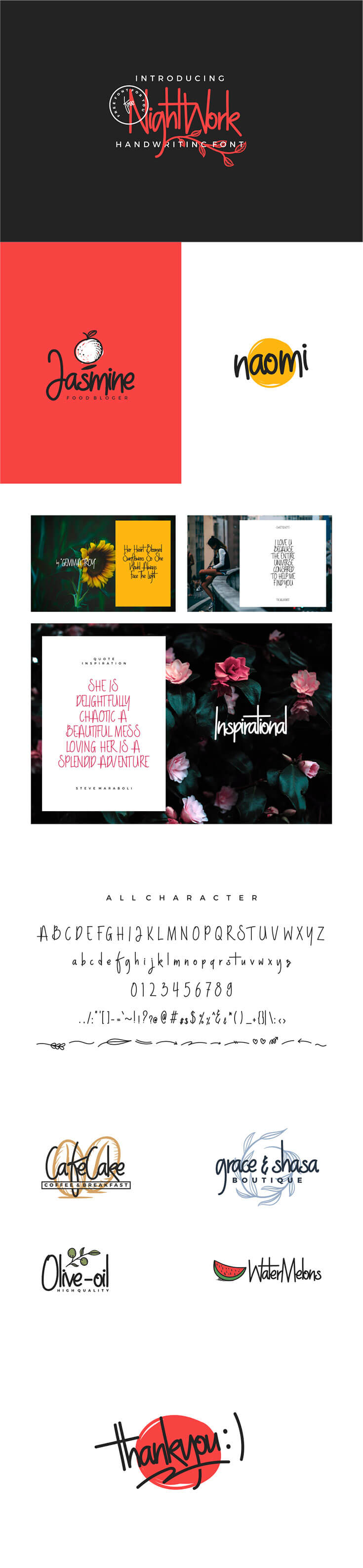 #Free Nightwork #Handwriting #Font is coming from the designer Holis Majid with soft handwriting style. This font has a feminine and cute character suited to the food business, food blogger, title, quote, flyers, posters, brochures, quotes, blog titles, etc.
