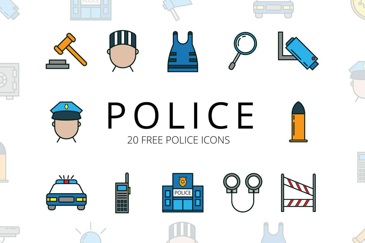Free Police Vector Icon Set - Creativetacos