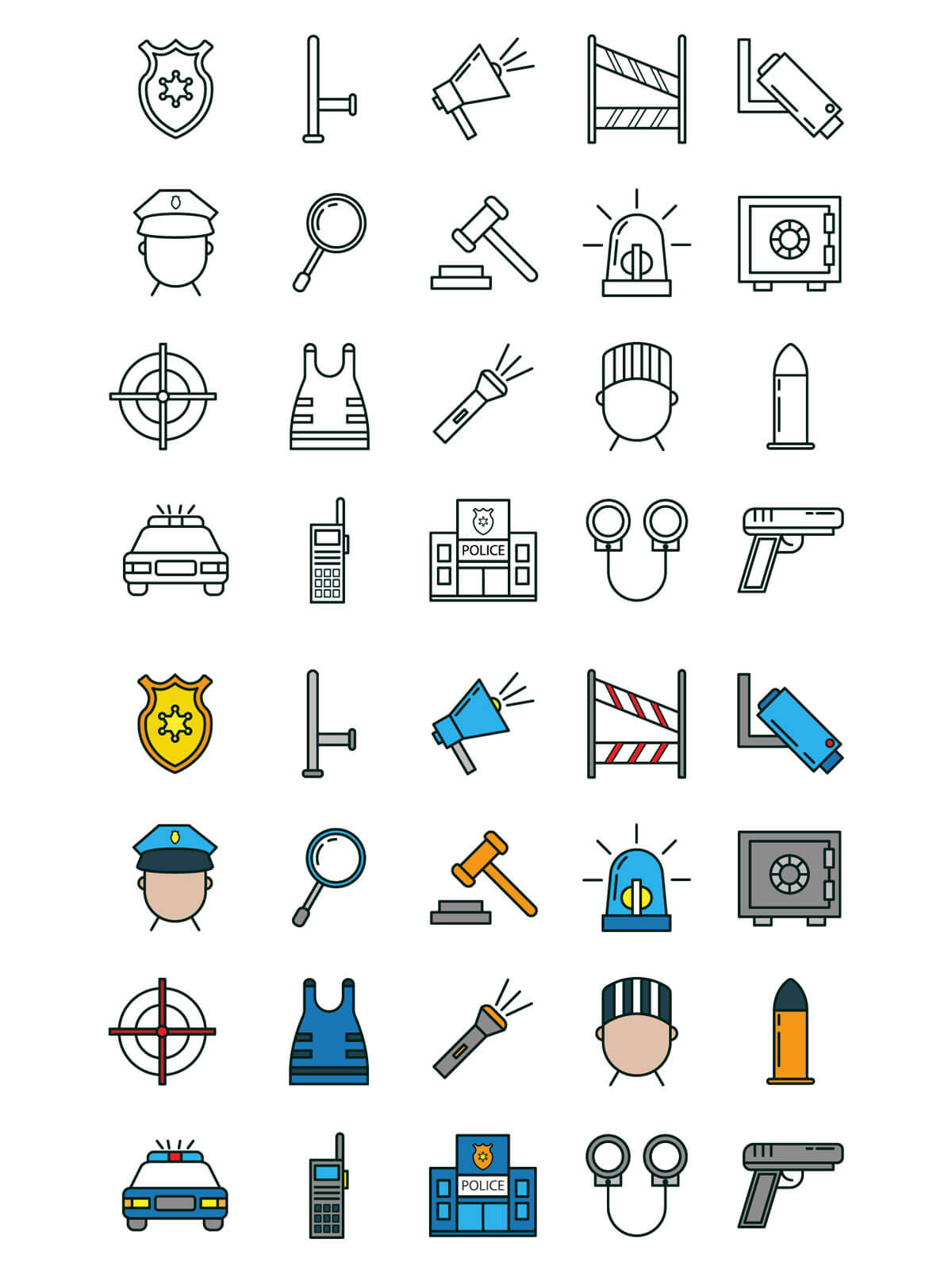Free Police Vector Icon Set