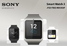 Free Sony Smart Watch 3 Mockup