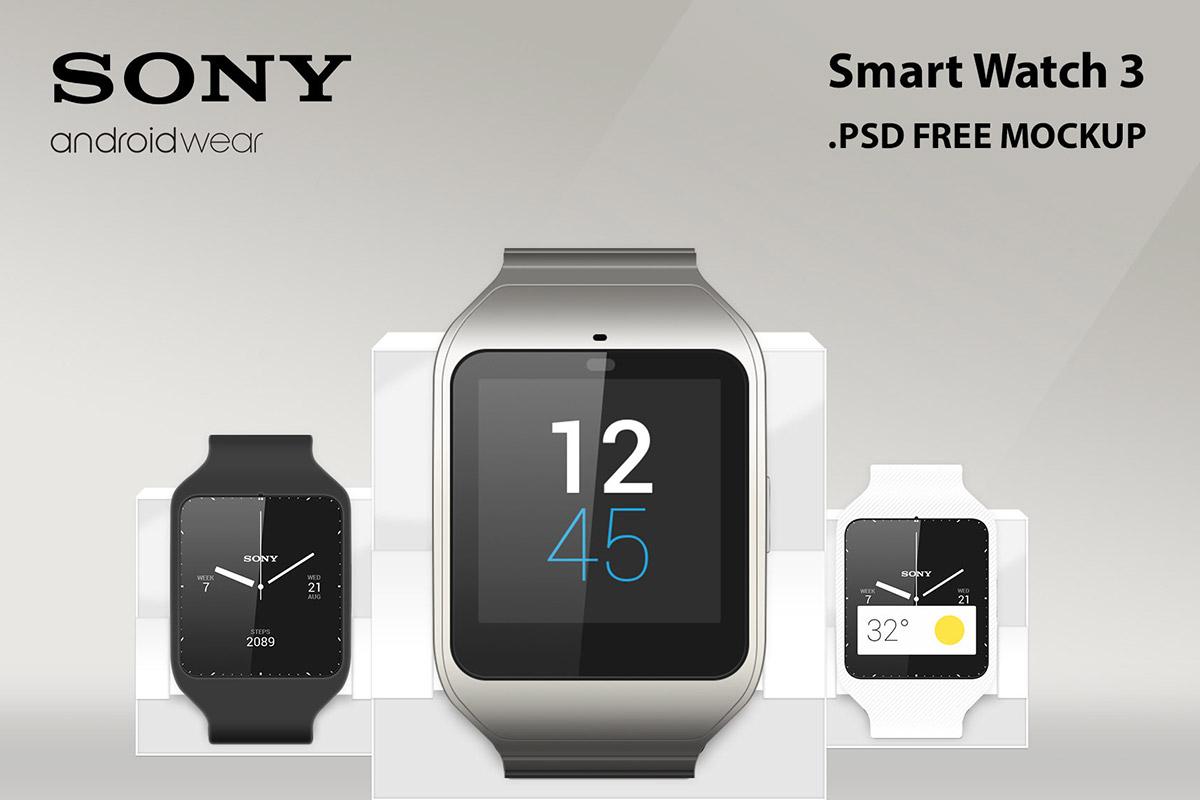 Free Sony Smart Watch 3 Mockup