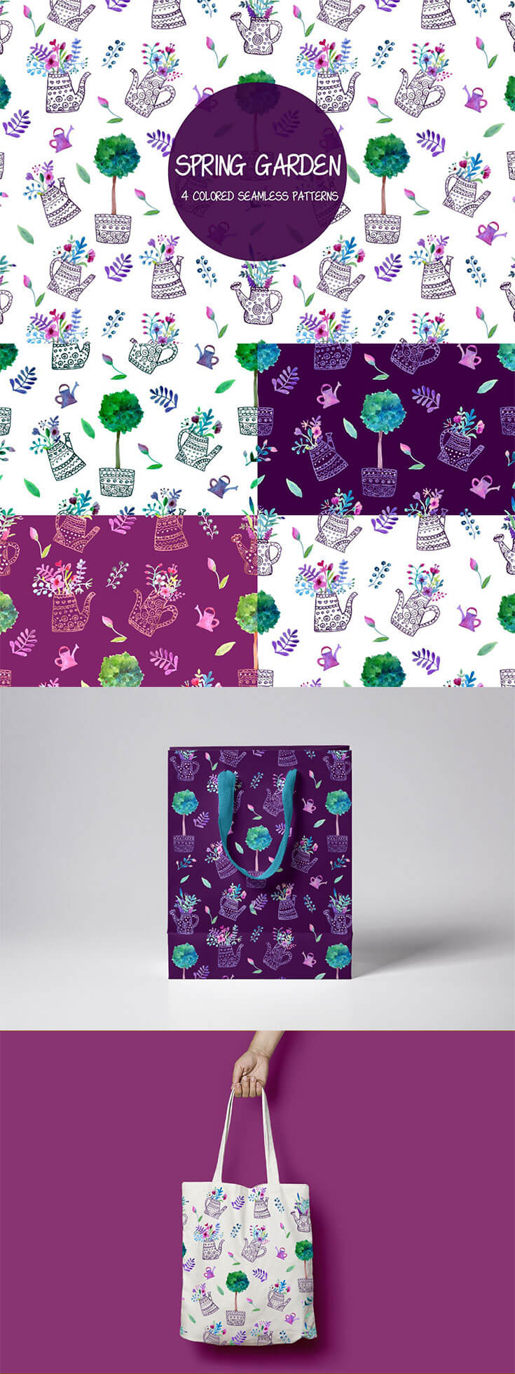 Free #Spring #Garden Vector Seamless #Pattern is a beautiful set of 4 color options. The possibility of applying graphics is huge. It can be clothes, home textiles, gift wrapping, stationery, wallpapers for home and much more. Each designer will come up with his own version of the application.