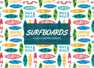 Free Surfboard Vector Seamless Pattern
