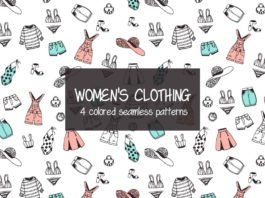 Free Women Clothing Illustration Vector Pattern