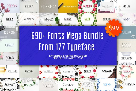 680+ Fonts Mega Typography Bundle