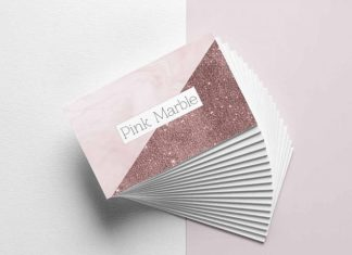 Pink Marble and Glitter Business Card Template