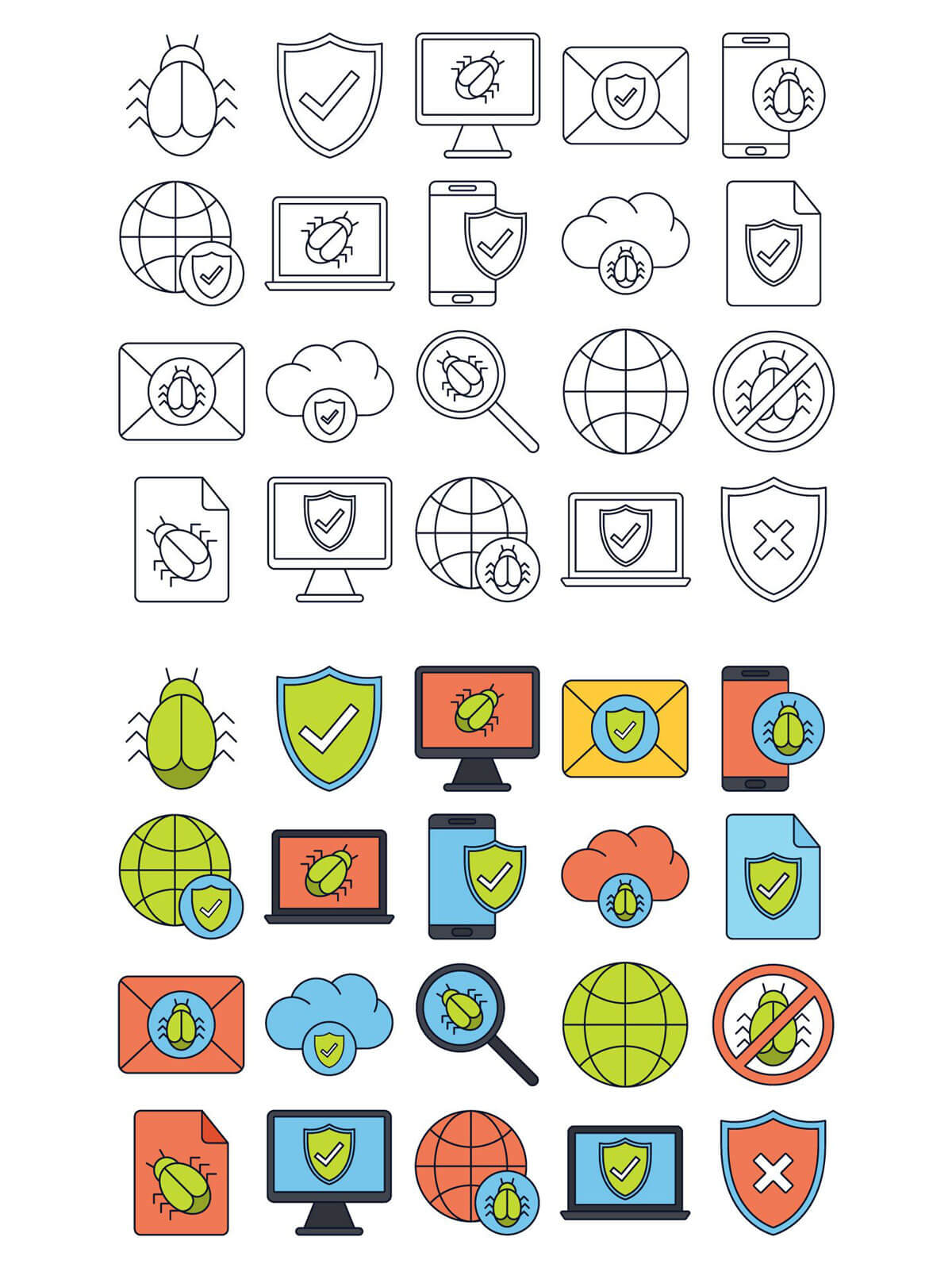 Free Antivirus Vector Icon Set