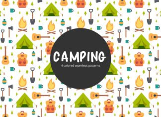 Free Camping Vector Seamless Pattern