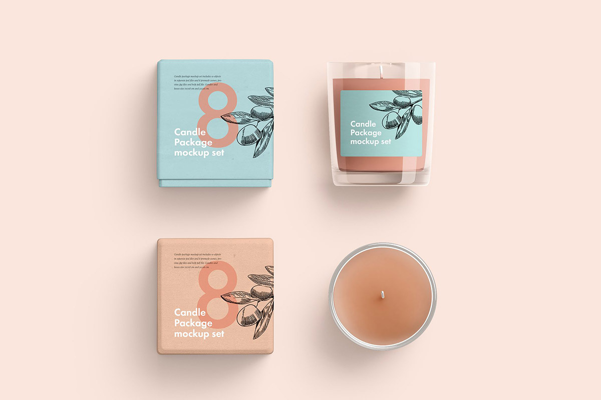 Free Candles Package Mockup Set