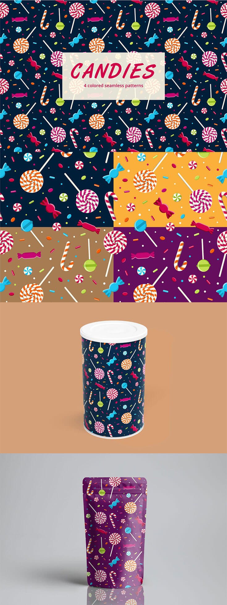 Free #Candy Vector #Seamless #Pattern is a thematic graphic for designers. You can create many interesting designs of things. It can be packing goods, gift bags, beach bags, smartphone covers and much more. All graphics are vector. You can easily change the size of the pattern without losing quality.You can use these free for both personal and commercial purposes.