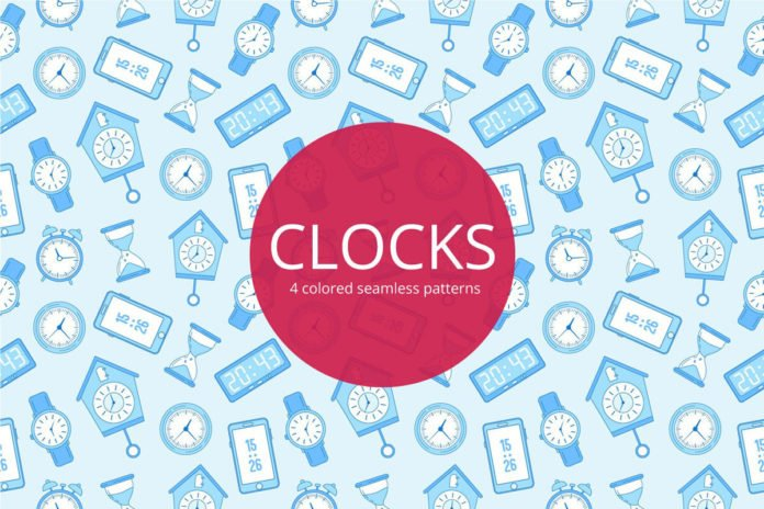 Free Clocks Vector Seamless Pattern