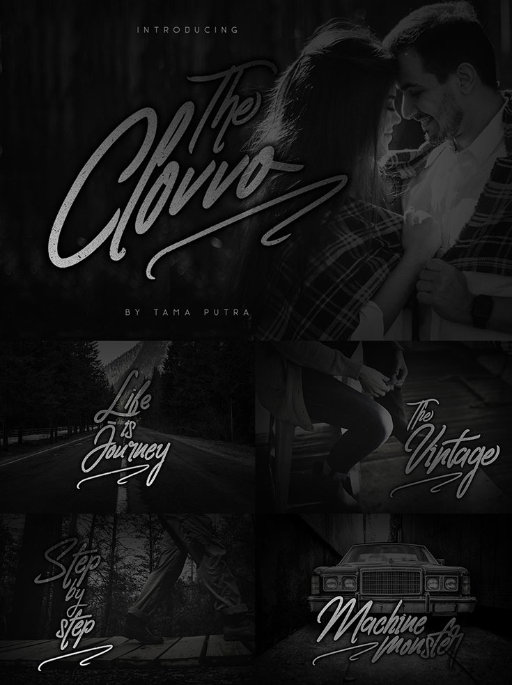 Free Clovvo #Handwritten #Script #Font is coming from Tama Putra. It includes a complete set of uppercase and lowercase letters as well as multi-lingual and currency support, numerals, punctuation, alternates, ligatures and some extra glyphs. It looks perfect with signature, logos, wedding invitations, website, headline, letterheads, nameplate, labels, bulletins, posters, quotes, badges, branding, greeting cards, and all product design other.