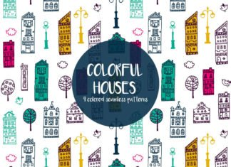 Free Colorful Houses Vector Seamless Pattern