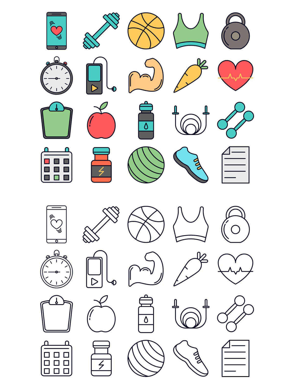 Free Fitness Vector Icon Set
