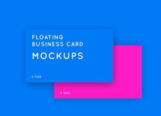 Free Floating Business Card Mockups