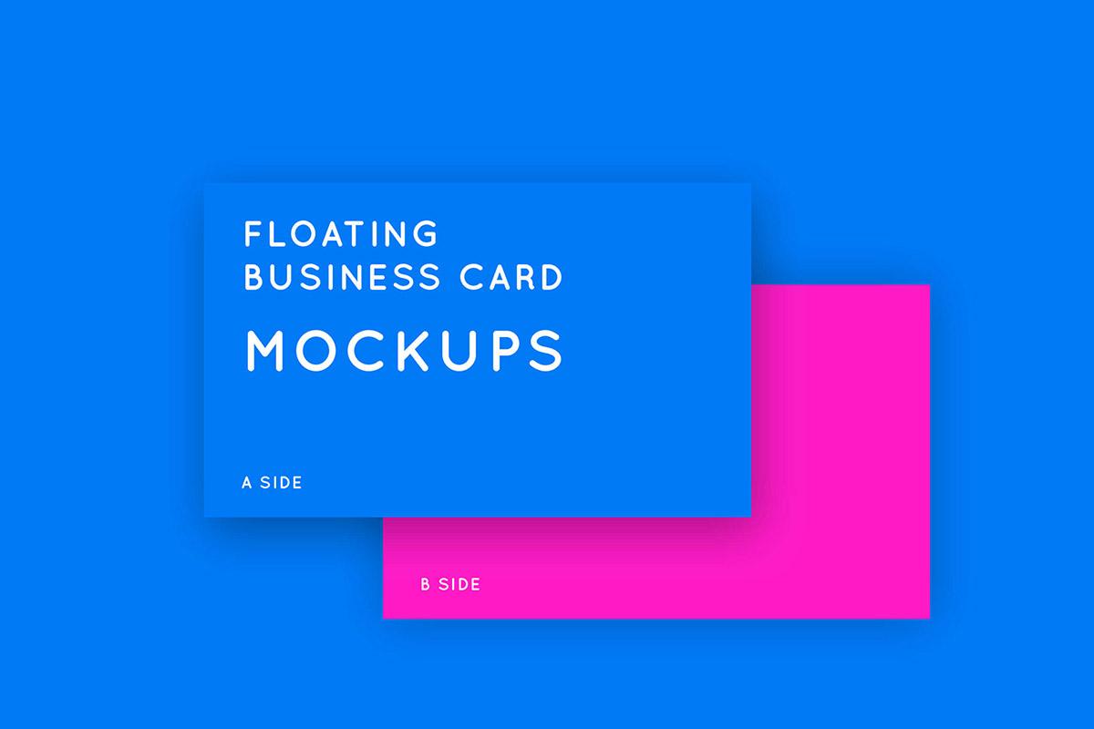 Free Floating Business Card Mockups
