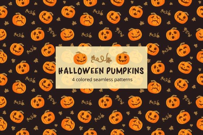 Free Halloween Pumpkins Vector Seamless Pattern