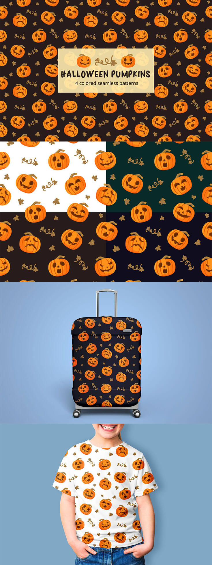 Free #Halloween #Pumpkins Vector Seamless #Pattern is a beautiful thematic set of graphics. Excellent choice for many designers. You can create a design for many things. For example, it could be children's clothing, gift wraps, pillows or bedspreads, umbrellas, mugs or cups, postcards and much more. You can use these for personal and commercial purposes.