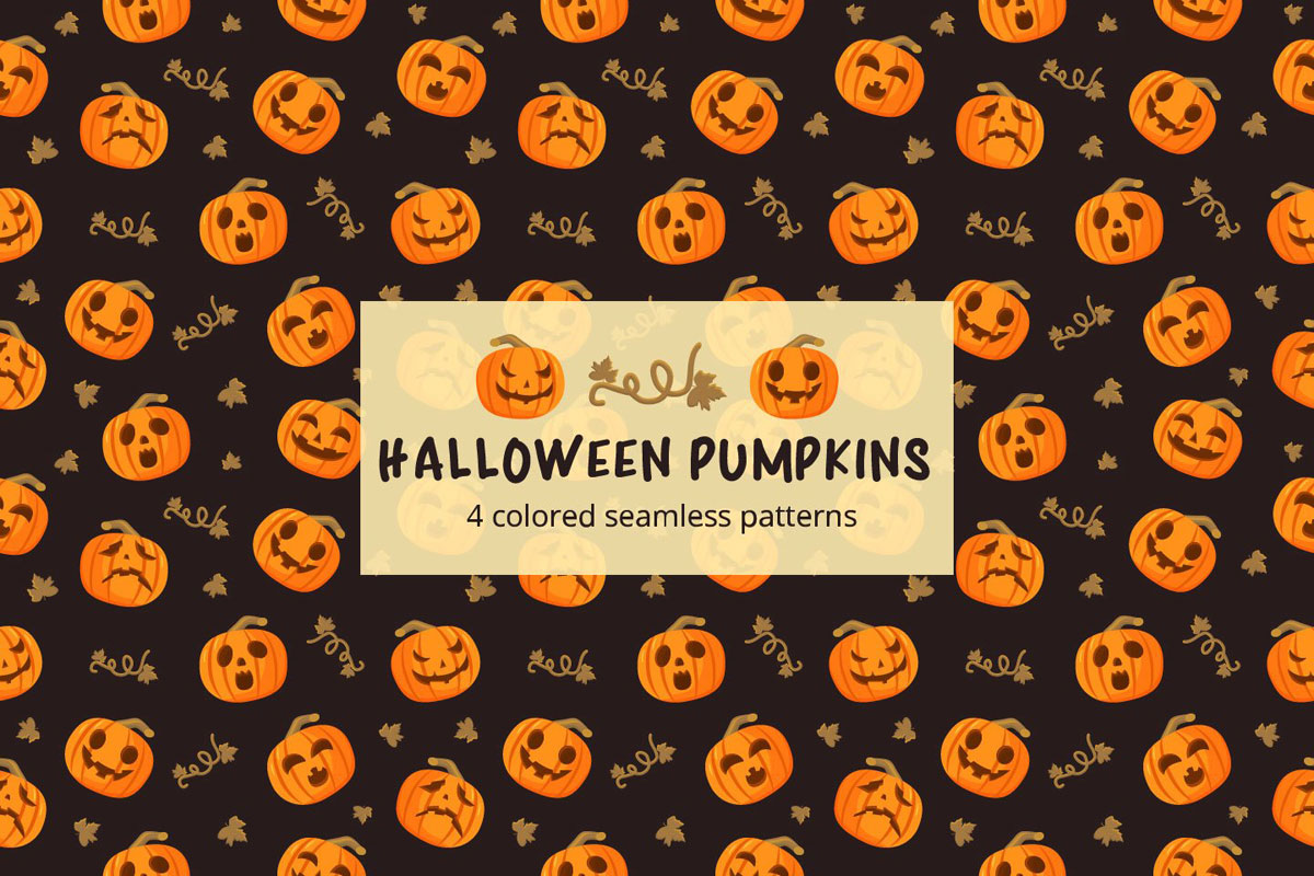 Free Halloween Pumpkins Vector Seamless Pattern