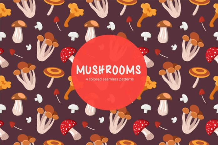 Free Mushrooms Vector Seamless Pattern