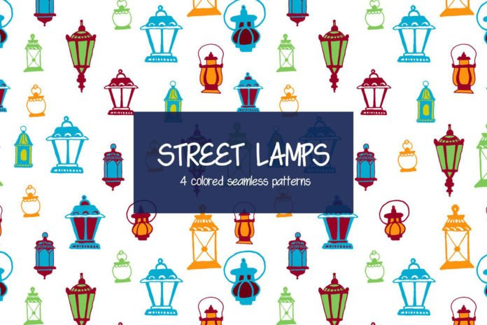 Free Street Lamps Vector Seamless Pattern