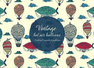 Free Vintage Hot Air Balloons Illustration Vector Pattern