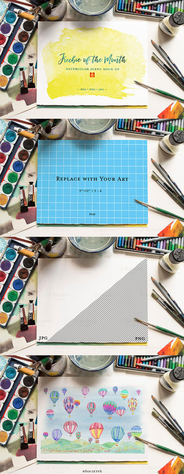Free #Watercolor #Scene #Mockup is coming from Shu Huang. It comes with PSD file format with built-in smart object for easier use. It is really easy to change the background to any color or texture, move or rotate objects. You can use this mockup template to showcase your designs, lettering, arts, sketches, fonts, e-stores, show your work, blog, web or print.