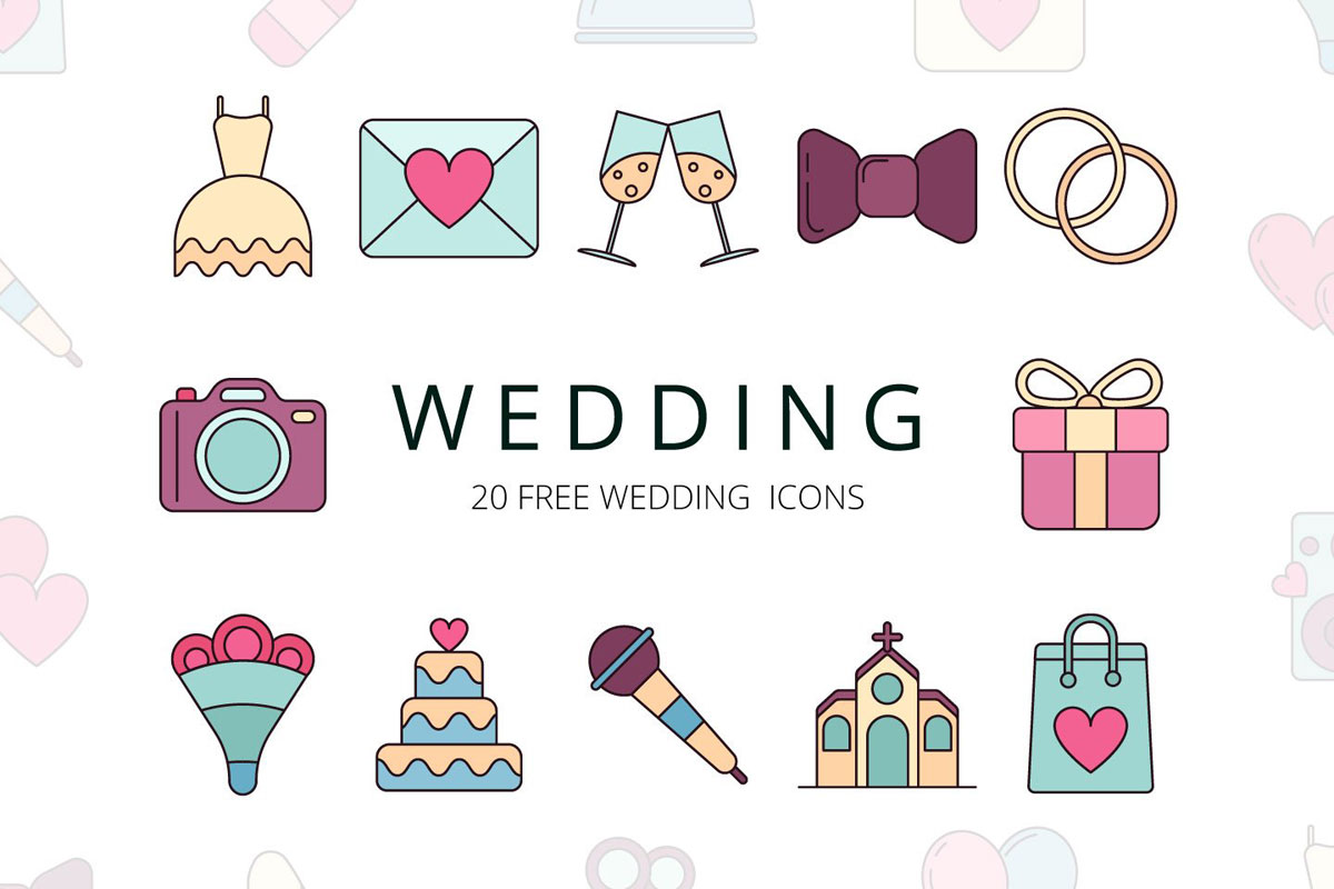 Free Wedding Vector Icon Set - Creativetacos