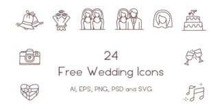 24 Free Wedding Icons
