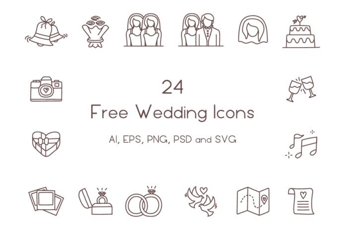 24 Free Wedding Icons