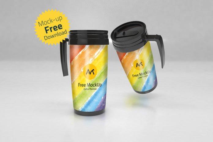 Free Coffee Thermos Mockup