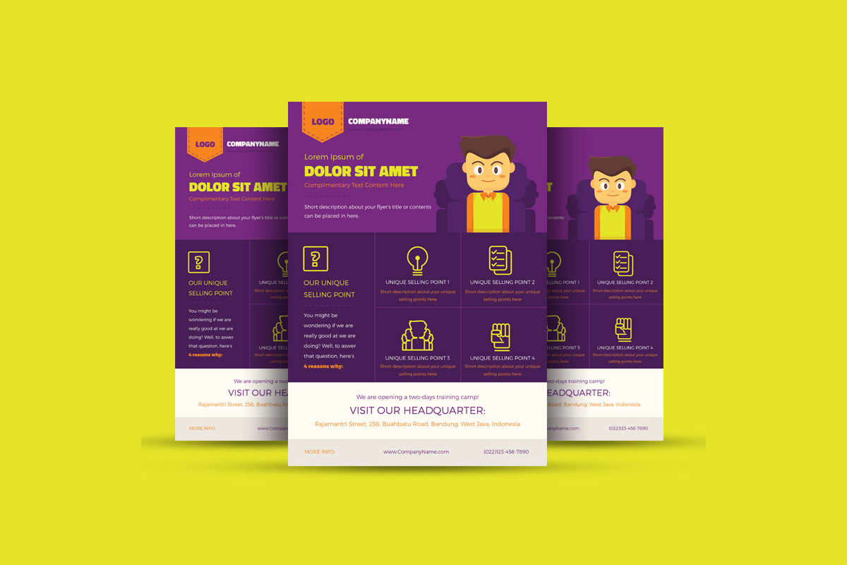 Free Colorful Ilrated Corporate Flyer Template