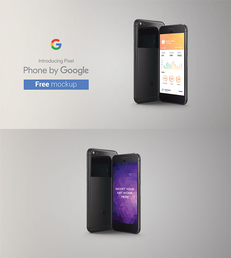 Free #Google #Pixel #Mockup is a useful clean mockup created by Asm Arif. This mockup offers you 2560 × 1440 px image size. It is available in PSD format with built-in smart object. You can change the background color and image to fit your need. You can use this to showcase your latest design! Enjoy!