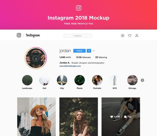 Free Instagram Web Profile Template