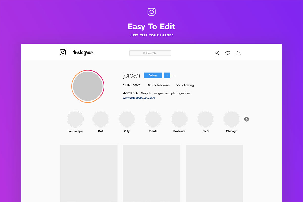 Free Instagram Web Profile Template - Creativetacos