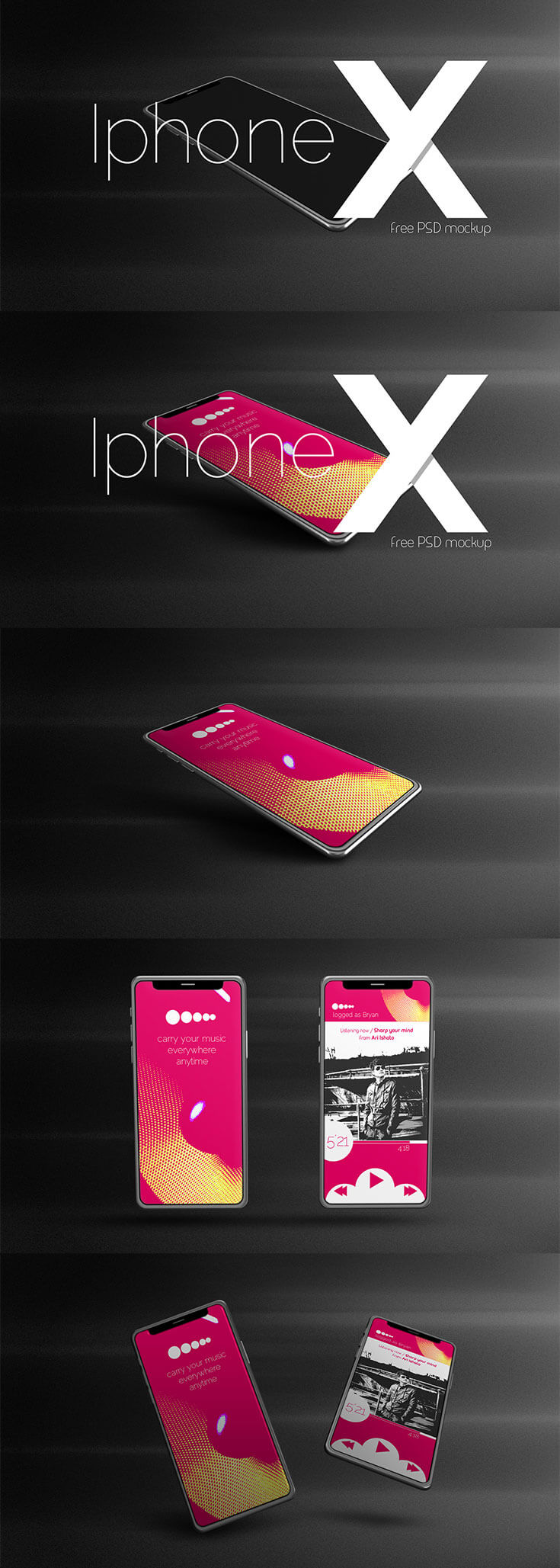 Free Iphone X PSD Mockupis abeautiful mockup editable mockup. It comes in PSD format with built-in smart object for easier use. You can showcase to promote your designs to app, magazine, website, your firm, clients using, or any project you might have.