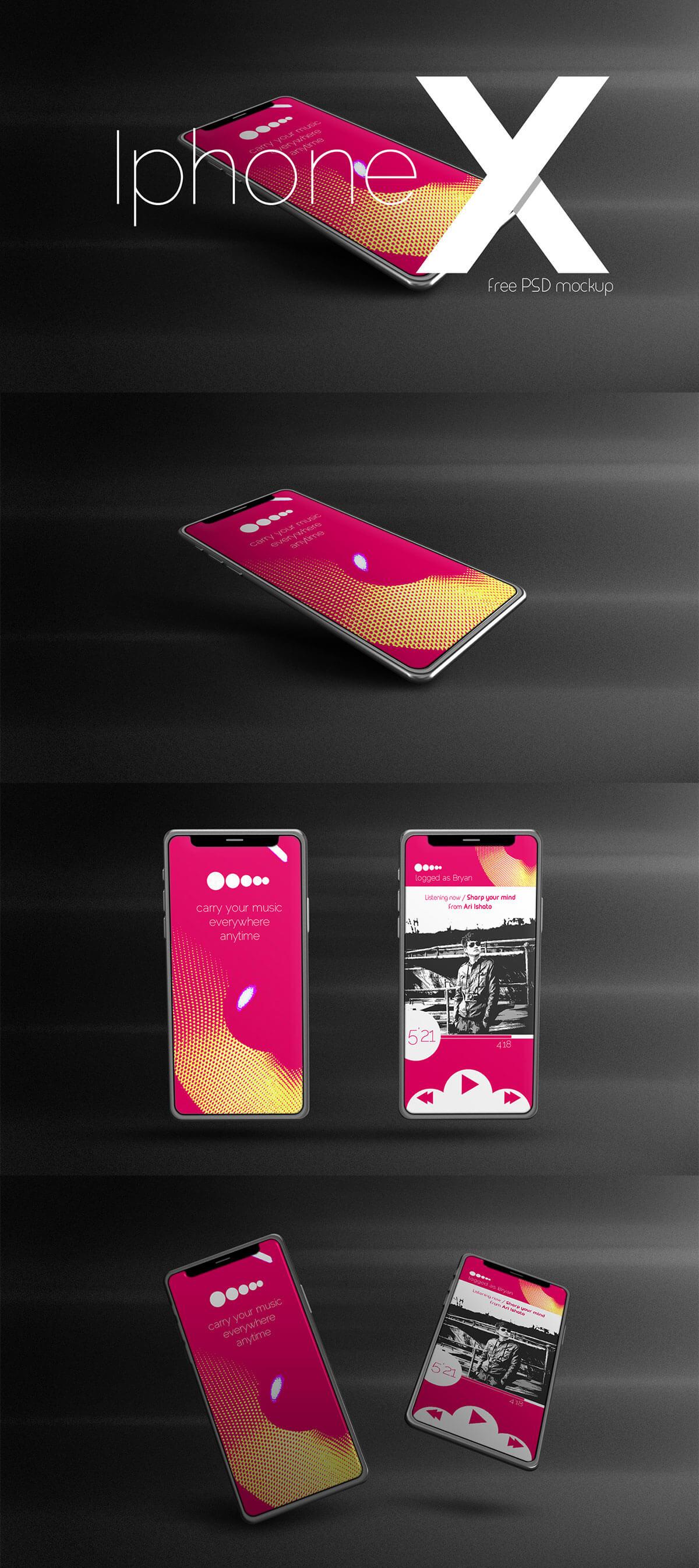 Free Iphone X PSD Mockup