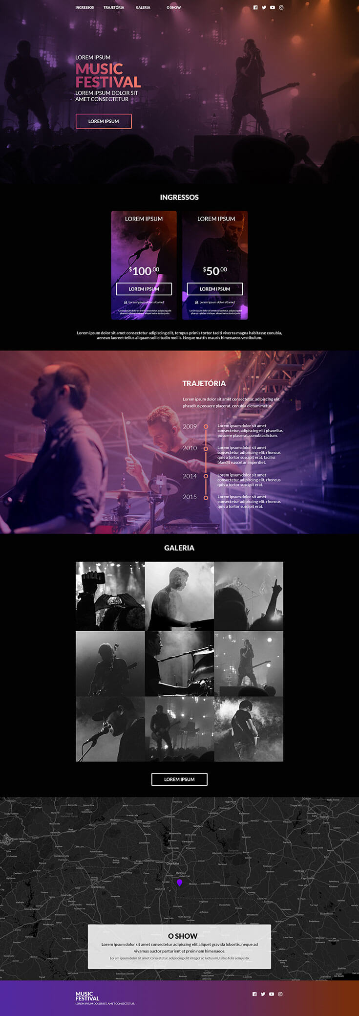 Free #Music #Festival #Website Template is a nice and simple music festival website template designed and released by Maísa Leepkaln. It comes in PSD format with clean and dark color design. It comes with a nice overall design and color scheme. You can use website study for a music festival.