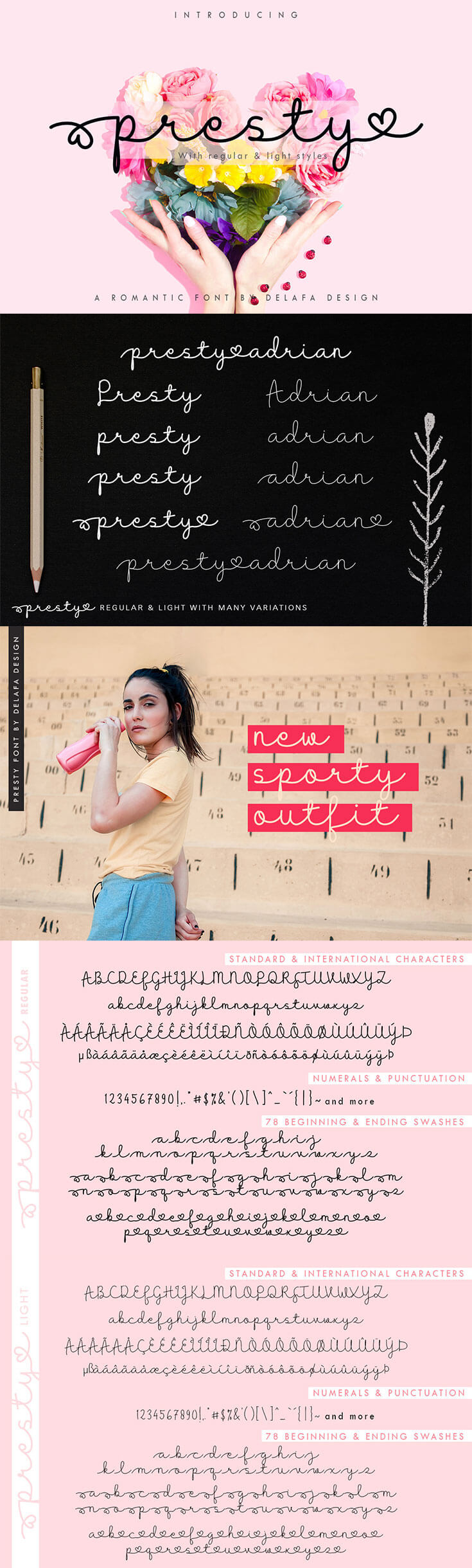 Free Presty Script Fontis a #romantic, #handmade #font that every single letters have been carefully crafted to make your text looks beautiful. Presty comes in two styles, regular and light! You can use this font for branding, wedding, letter, invitation, magazines, handwritten quote, etc.