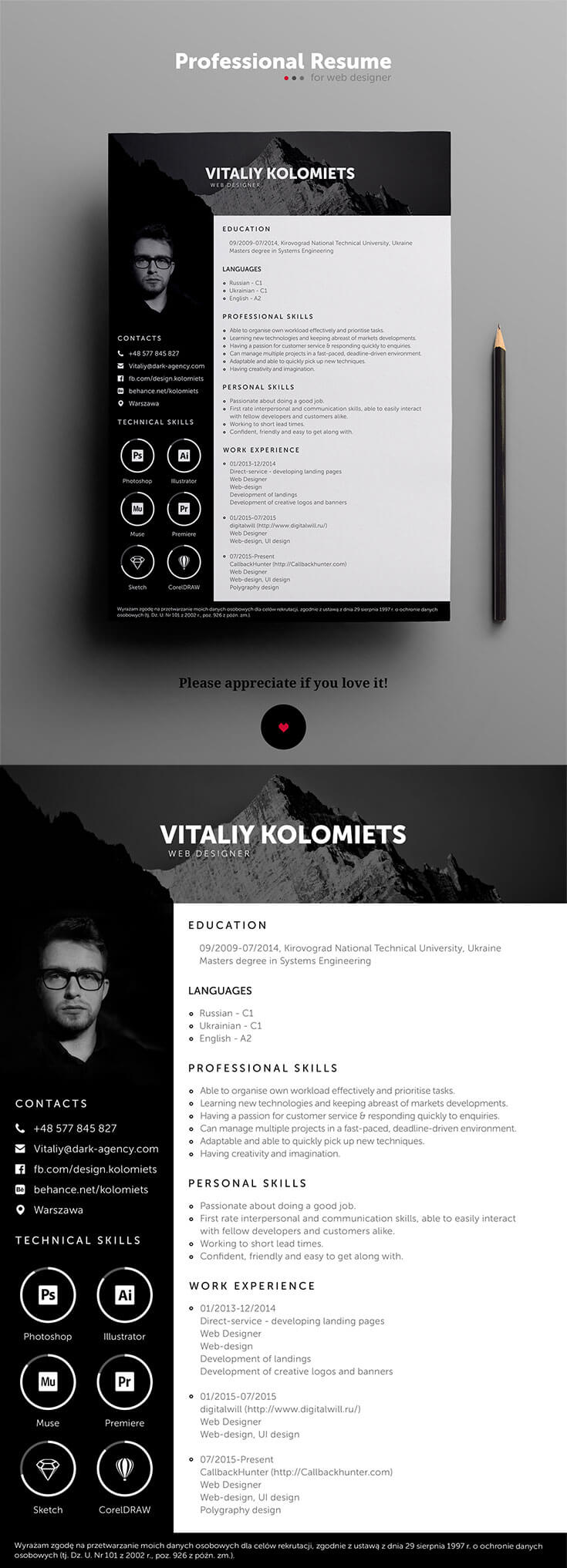 Free #Modern #Resume #Template is a professional template specially design for graphic and web designers. It is available in PSD file format. Moreover, you can change the photos, colors and other stuff according to your need. It's very helpful to make your professional resume and are perfect for designers, photographers, and developers.