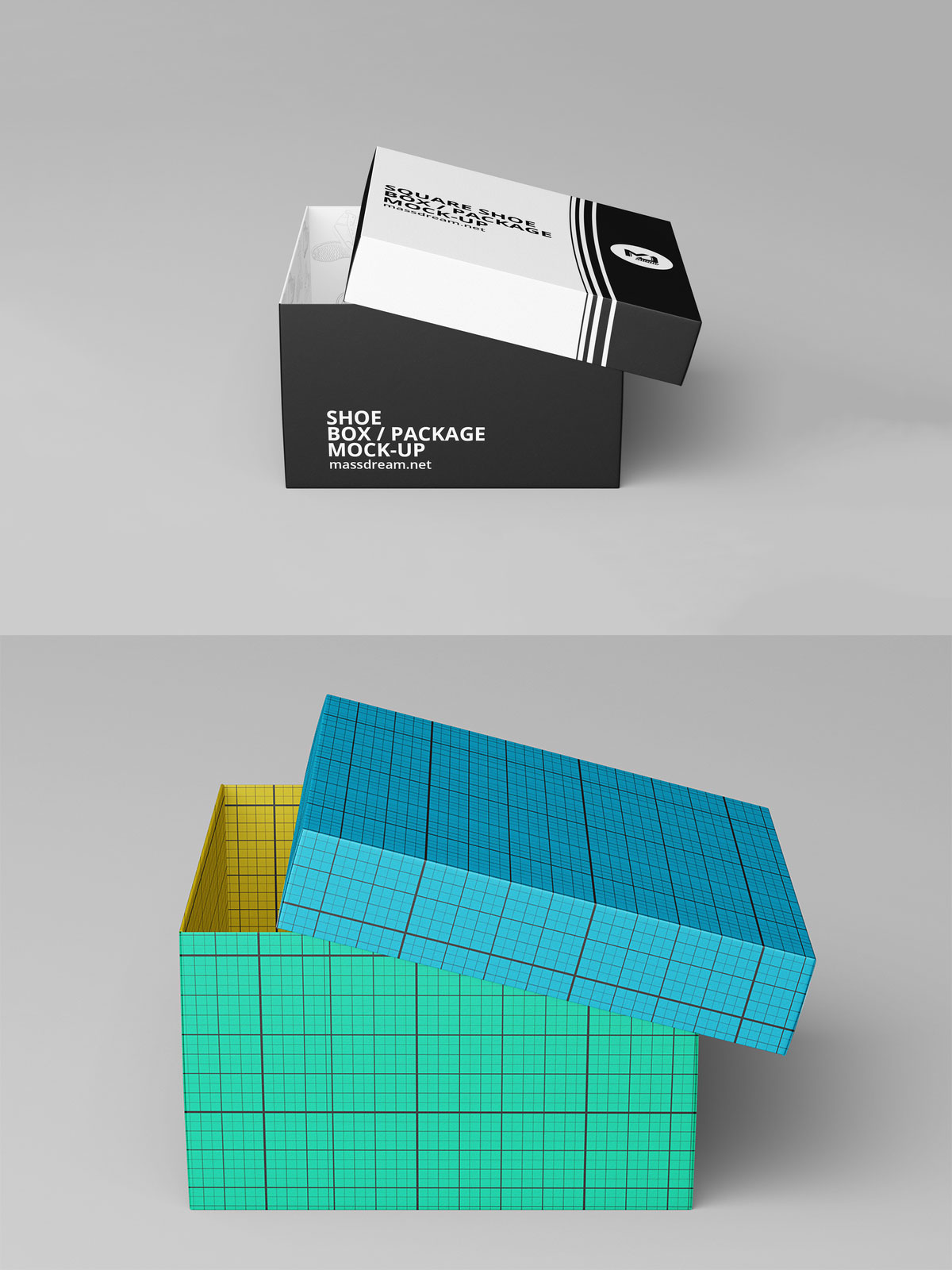 Free Square Shoe Box Package Mockup