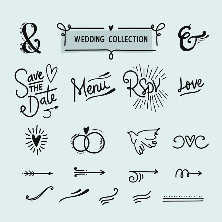 Free #Wedding #Graphics #Collection was coming from Camila Mallozzi. It contains various handmade vector elements in EPS format. These will be perfect for invitations, greeting cards, wedding card, patterns and other romantic designs.