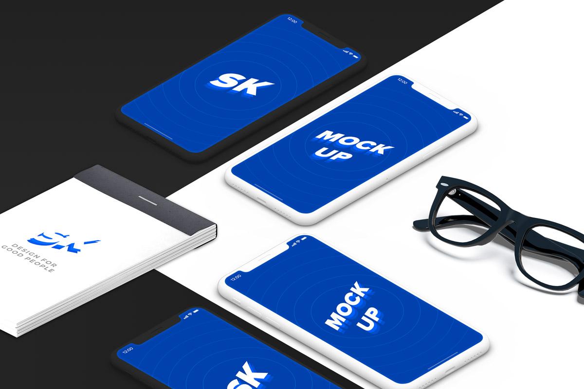 Free iPhone X Isometric Mockup