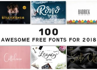 100 Awesome Free Fonts for 2018