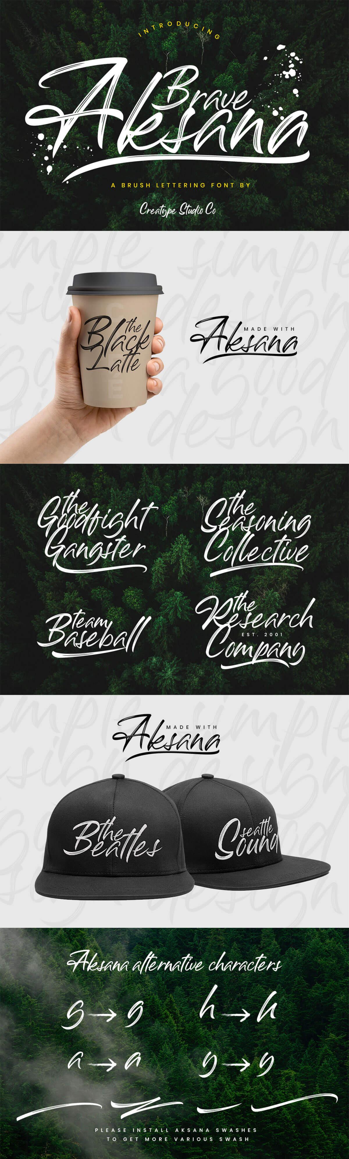 Free Aksana Brush Script Font