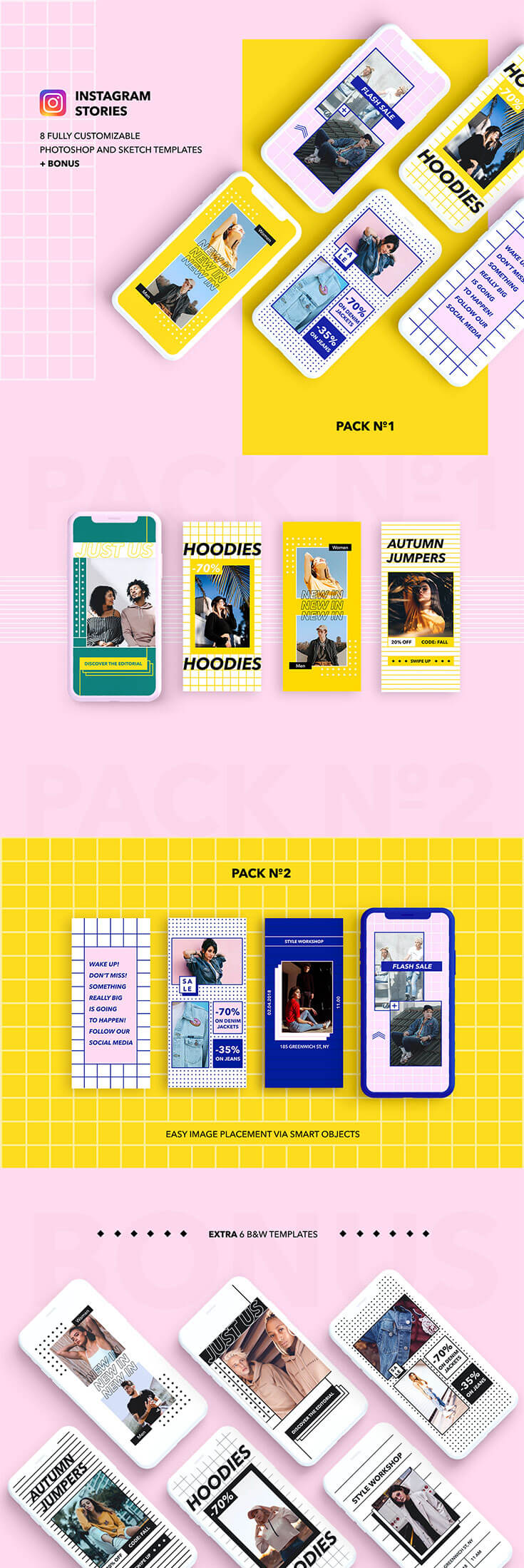 Free #Instagram #Stories #Templates is abeautifultemplate design for online shops. This pack contains 8 templates for Sketch and Photoshop in Black & White, Pink and Blue, Yellow color palettes. It is available in PSD format, you can edit or change the colour of all the elements included in it. These templates arevery easy to use and customization is supported. It is also can be useful for promotional banner or advertising beyondInstagram.