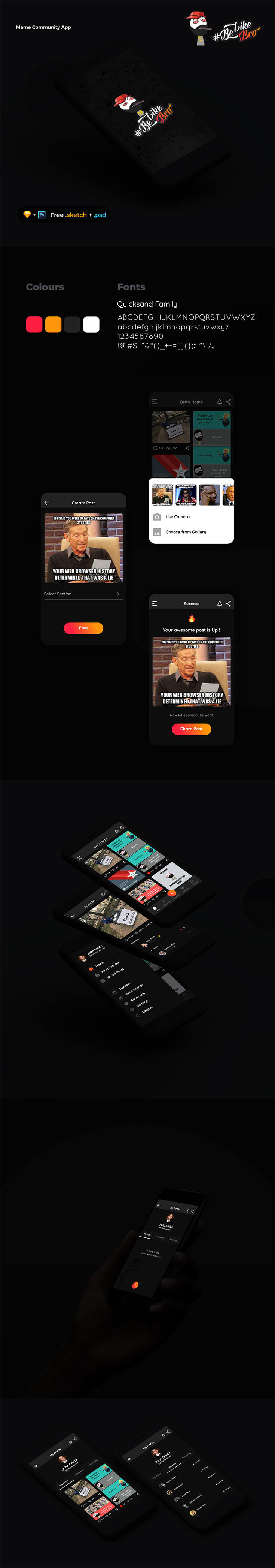 Free #Meme Community #App #Template is a clean meme app coming from Nihal Graphics. It's available in PSD file format, so you can fully edit and you can resize or replace them easily. You can use this to showcase your personal or forthcoming projects.