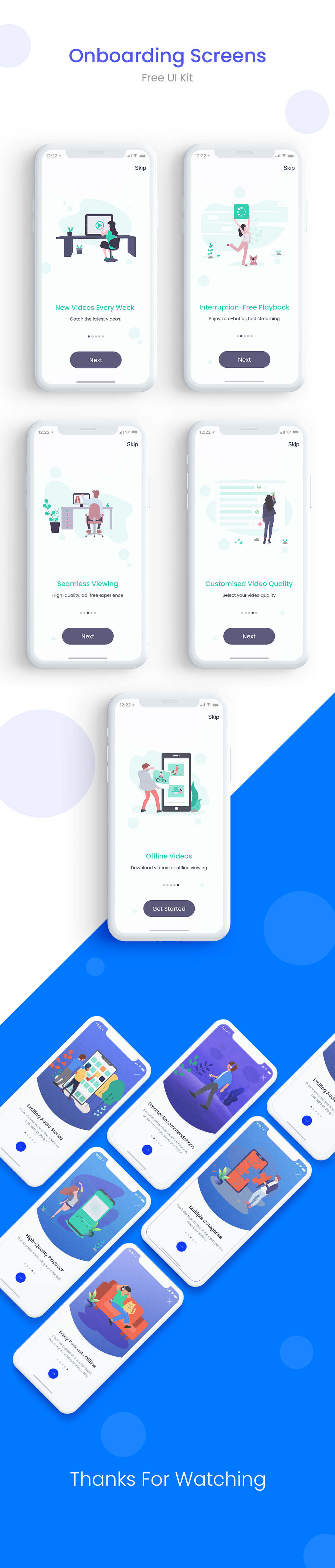 Free App Onboarding Walkthrough Screens Templates