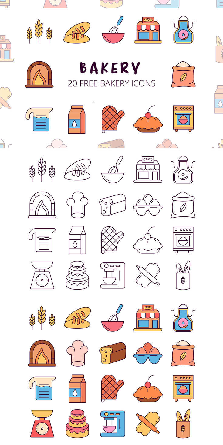Free #Bakery #Vector #Icon Set is a collection of high-quality icons. It includes 20 icons in the theme of cooking and cuisine. Perfect for thematic blog or for the design of the community in social networks. You can also use these graphics for packaging design. You can use graphics for personal and commercial purposes.