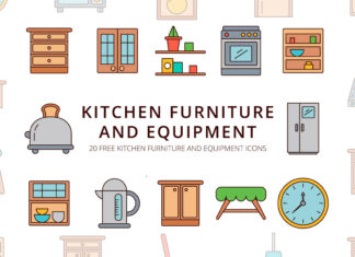 Free Kitchen Furniture and Equipment Vector Icon Set